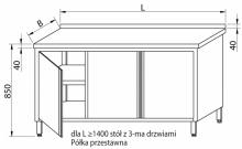 Stół przyścienny z drzwiami skrzydłowymi RMS-1023 *