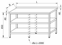 Stół przyścienny z 2-ma półkami RMS-1005 *