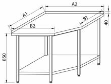 Stół przyścienny narożny RMS-1004 *