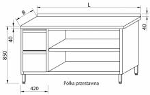 Stół przyścienny z szufladami i szafką otwartą RMS-1027 *