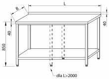 Stół przyścienny z półką RMS-1003 *