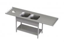 Stół przedłużony z dwoma zlewami i otworem na odpadki RMS *