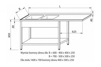 Stół przedłużony z dwoma zlewami RMS