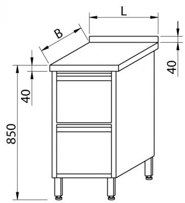 Stół przyścienny z szufladami RMS 1024